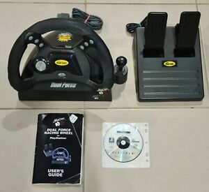 """Mad Catz Dual Force Racing Wheel with Pedals for PS1 With PS1 Game """"Driver"""""""