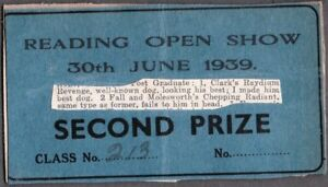 VINTAGE 1939 OLD 2ND PRIZE BULLDOG BULL TERRIER DOG SHOW CARD LONDON ENGLAND