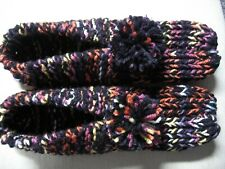 """New listing Unisex Handmade Hs Slippers Black Bright Mix Womans X Large Mans Large 10 1/4"""""""