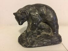 Original Vintage Hand Carved Soapstone Sculpture by Inuit Al Wolf - Bear w/ Fish