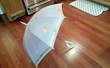 VINTAGE GLORIA VANDERBILT CLASSIC UMBRELLA EX WIDE LILAC & SHINY GOLD TRIM