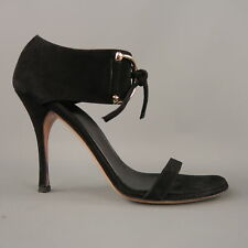 f42042e1015b GUCCI Size 10 Black Suede Thick Gold D Loops Tied Ankle Strap Sandals