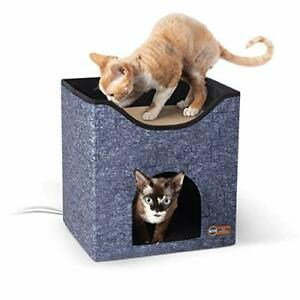 K&H PET PRODUCTS Thermo-Kitty Playhouse Heated Cat House & Cat Scratcher Clas...