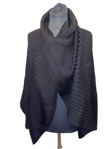 COS Black Ribbed Pullover Poncho Shrug Jumper One Size BNWT 100% Wool