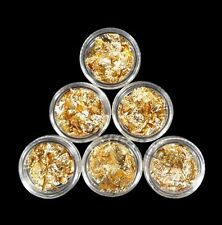 6x feuille d'or DIY Nail Art Acrylique Conseils maquillage S057-6