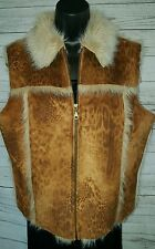 OUTERWEAR BY LISA Faux FUR LINED VEST JACKET ANIMAL PRINT TAN  Faux Suede #1510