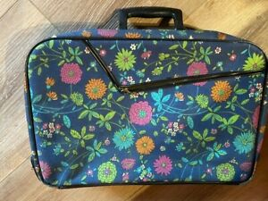 1960's Vintage Suitcase with Key Floral Flower Power Fabric  Sutton & Sons