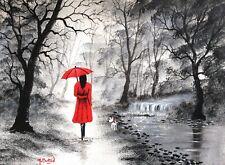 MAL.BURTON ORIGINAL OIL PAINTING  RED UMBRELLA  NORTHERN ART DIRECT FROM ARTIST
