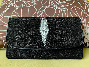 Stingray Skin Leather Trifold Wallet Authentic * New *