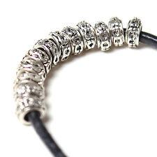 100pcs Vintage Silver Circle Carved Pattern Alloy Beads Fit European Bracelet D