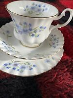 Richmond English Bone China Blue Rock Tea Cup Saucer And Dessert Plate Floral