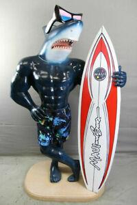 MAUI & SONS FIBREGLASS SHARKMAN SHARK SURFER STATUE SURFBOARD SHOP ADVERTISING