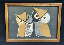 KAORU KAWANO OWLS JAPANESE WOODBLOCK RED SEAL THREE EYES W/ORIGINAL FRAME