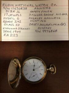 1904 Elgin Size 16s 17 Jewel Pocket Watch in GF Hunter Case - Runs