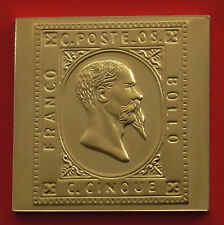 Moderne Plaqué Or 8.9 G argent TIMBRE LINGOT Italie Sardaigne Victor Emmanuel II 5 C