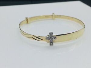 Genuine 9ct Gold Baby 3mm Cross Bangle 50mm Expandable Free Engraving