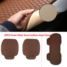 Universal 3Pcs PU Leather Front+Rear Seat Cushion Interior Car Seat Covers Solid