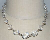VTG Gold Tone Faceted Clear Cut Crystal Beaded Art Deco Choker Necklace D