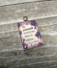 Word Charm Quote Charm BE YOURSELF Silver Word Pendant Enamel Pendant Bail