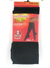 LADIES HEATGUARD 2 PACK THICK THERMAL KNEE HIGH SOCKS 140 DENIER 0.5 TOG - SK189
