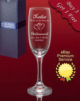 Personalised Engraved Champagne/Prosecco Glass-Weddings Bridesmaid Hen Night etc