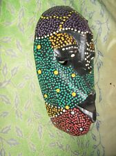 Vintage celebratory wooden mask unk origin likely Indonesian small Colorful
