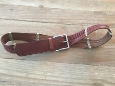 TALBOTS  Size M  Wide Width Brown Leather Casual Belt w/ Woven Cording