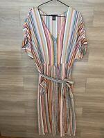 Chelsea & Theodore Striped Shirt Dress Women's Size 1X Rainbow Striped