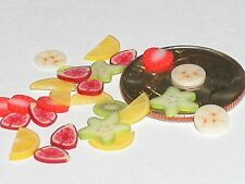 10pc Miniature dollhouse tiny lot strawberry Lemon & banana MIX fruit slice food