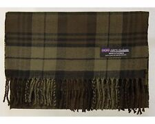 100% Cashmere Scarf Brown Tartan Flannel Check Plaid Scotland Warm Wool R26