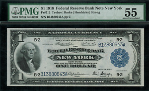 1918 $1 Federal Reserve Bank Note New York FR-712 - Graded PMG 55