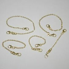 5 pcs 14kt Gold Filled 1.5x2mm Flat Cable Chain Extenders with Two Lobster Clasp