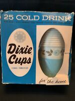 Vintage 1950's Full Box 25 Cold Drinking DIXIE CUPS 9 Oz Petal Design NIB