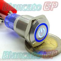 PULSANTE MONOSTABILE 16mm SPDT SIMBOLO ON ILLUMINATO 12V DEVIATORE INOX switch