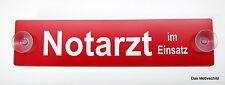 Notarzt im Einsatz, Feuerwehr,Gravur,Schild,19 x 4,5 cm,Kunststoff,Rot,2 Sauger