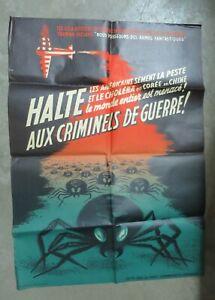 PARTI COMMUNISTE FRANCAIS affiche anti américaine guerre bactériologique v1950