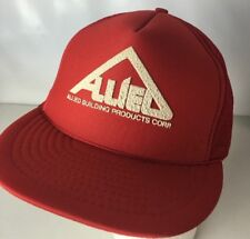 69113ddead8 Allied Building Products Hat Cap Truckers Printed Logo Spellout VTG Rope  Foam