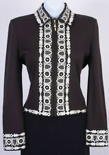 ST.JOHN Womens Knit Zip Brown White Sequins Rhinestone Embroidered Jacket Sz 8