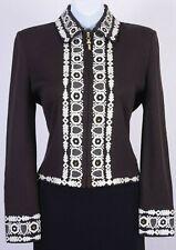 ST.JOHN Womens Knit Zip Brown White Sequins Rhinestone Embroidered Jacket Sz 8