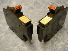 """2 - 20 Amp Federal Pacific Stab-Lok 20A 1 Pole 1/2"""" Thin Breakers Type Nc"""