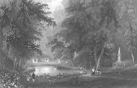 MOUNT AUBURN GARDEN CEMETERY Boston ~ Old 1838 Art Print Engraving