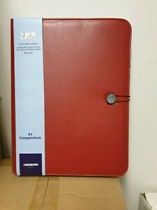 J BURROWS A4 FLAT COMPENDIUM-RED- ELASTIC BUTTON CLOSURE BRAND NEW FREE POSTAGE
