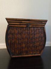 Bamboo Wicker Rattan Designer Storage Bin Trunk Chest or Side Table With Lid