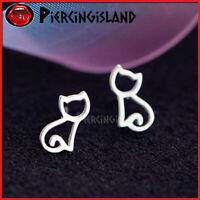 STERLING SILVER Cat Kitty Lady Girl Ear Cartilage Piercing SOLID STUD EARRINGS