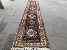 Antique Traditional Hand Made Persian Rug Blue Wool Long Runner 430x97cm