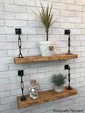 Rustic Reclaimed Floating Industrial Shelves Solid Wood