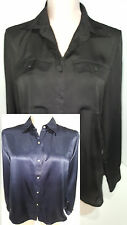 Lot of 2 Ralph Lauren Long Sleeve Button Front Shirt Blouse Sz Medium Black Blue