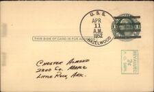 Naval Ship Cancel USS Hazelwood 1952 on 1 Cent Postal Card