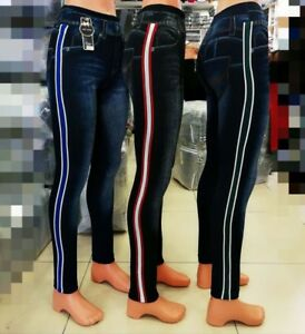 Women Skinny Jeans printed Design Jeggings soft Stretch Leggings onesize 6 to 12