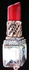 Betsey Johnson Lipstick Necklace Red Enamel Crystal Charm Pendant 935582 Bag F
